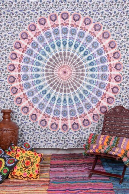 Hippie Mandala Wall Tapestries Indian Throw Psychedelic Cotton Bedspread Decor