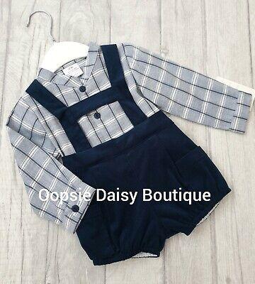 Boys Navy Blue Spanish Tartan H-Bar Dungarees Shorts /& Shirt Sets 0-24mths  ⭐