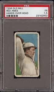 Rare 1909-11 T206 Red Ames Hands Over Head Old Mill Back New York PSA 1.5