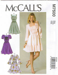 Square-Neck-Ruched-Dress-Gathered-Waist-Ruffles-Sewing-Pattern-Sz-6-8-10-12-14