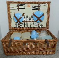 Vintage Optima Wicker Picnic Basket and Tableware Setting for 4