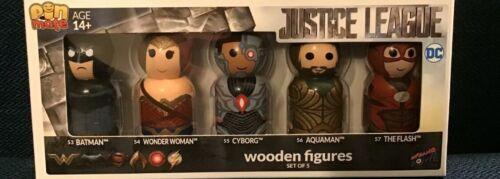 Flash Pin Mate en Bois Figurine DC JUSTICE LEAGUE Lot de 5 Batman Wonder Woman