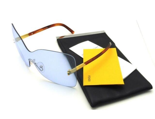 5f62369ffb64 Authentic Fendi Oversized Rimless Shield Havana Clear Blue Sunglasses