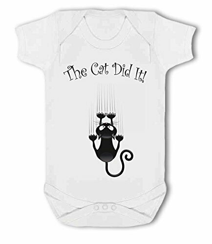 with cartoon cat funny pet Baby Vest by BWW Print Ltd The Cat Did It