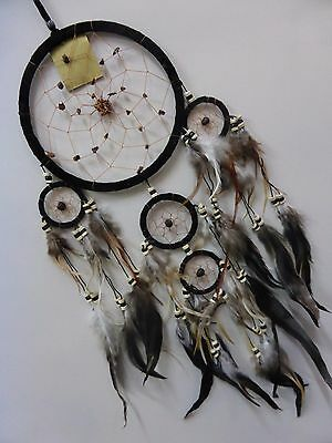Soft Leather Dream Catcher 16 cm Web With Stones And Beads 68 cm Overall Drop