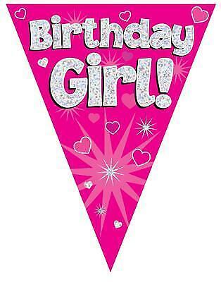 Pink Birthday Girl Holographic Flag Banner