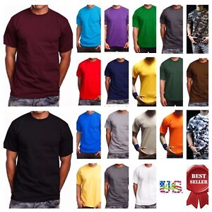 Men-HEAVY-WEIGHT-T-Shirt-Plain-Crew-Neck-Fashion-Casual-Hipster-GYM-BIG-AND-TALL