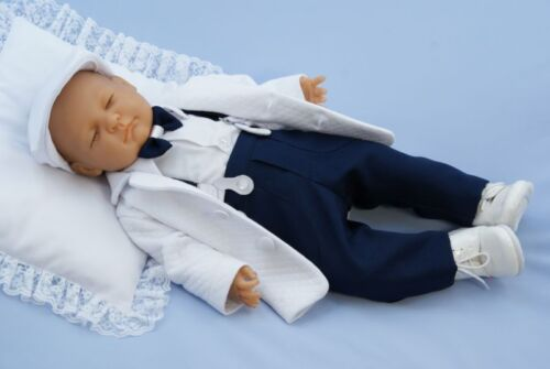 Baby Boy Formal Suit Pageboy Outfit Braces White Navy White Shirt Navy Hat 0-18M