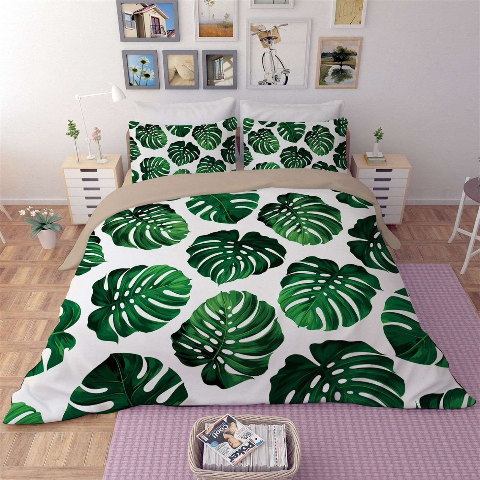 3D Grün Plant 52 Bett Pillowcases Quilt Duvet Startseite Set Single Königin König AU