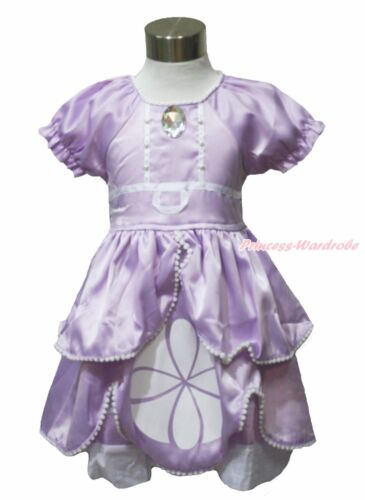 Princess Sofia Crystal Purple Bubble Sleeves Girl One Piece Dress Costume 12M-6Y