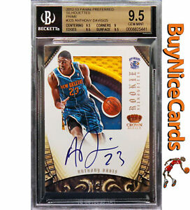 2012-13 Anthony Davis Preferred Silhouettes RC Rookie Patch Auto /25 BGS 9.5