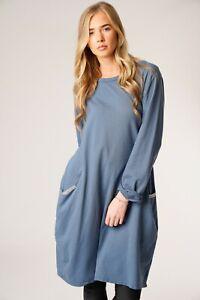 New-Ladies-Italian-Lagenlook-Long-Sleeve-Sequin-Pocket-Womens-Winter-Tunic-Dress
