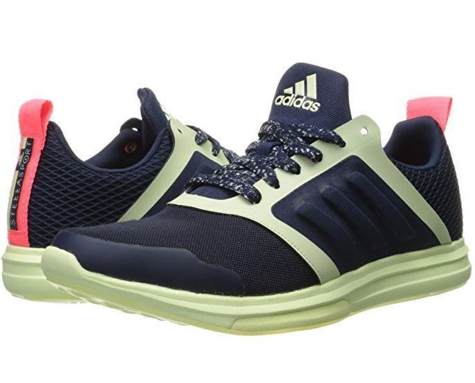 Adidas StellaSport Yvori Runner Trainers Women 8.5 Shoe Court Navy Mint Glow NEW