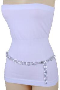 Women-Jeans-Pant-Loop-Evening-Look-Belt-Silver-Metal-Chain-Oval-Link-Plus-XL-XXL