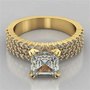 2.84 Ct Asscher Cut Moissanite Anniversary Ring 18K Real Yellow Gold ring Size 8