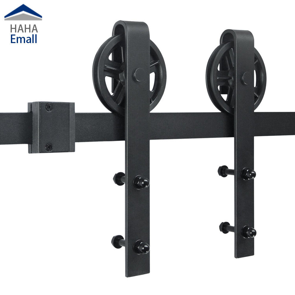 5 16ft Sliding Barn Wood Door Hardware Kit Black Big Industrial