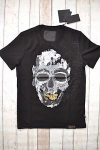68d0b215b0 BNWT PHILIPP PLEIN ROUND NECK SS T-SHIRT BLACK SKULL GOLD TEETH OIL ...