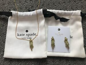 NWT-KATE-SPADE-12K-Gold-Tone-Swamped-Pave-Alligator-Stud-Earrings-and-Necklace