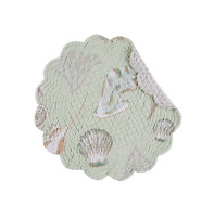 Breezy Shores Quilted Reversible Round Placemat -shells - Sea Glass Green By C&f