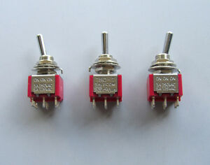 3x DPDT 6 Pin 3 Way ONONON Guitar Mini Toggle Switch SALECOM Car