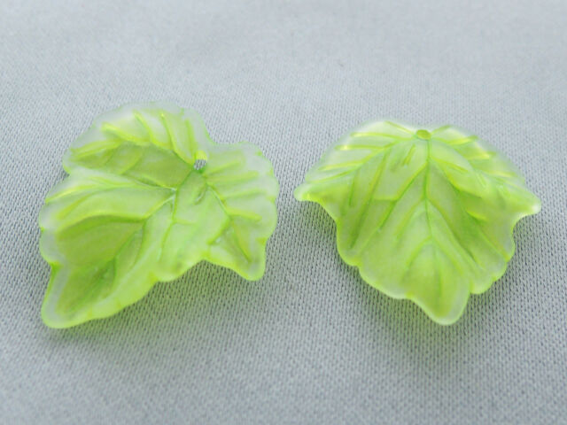 24x25mm 30/../300pcs FROSTED SPRING GREEN ACRYLIC PLASTIC LEAF BEADS TY2761