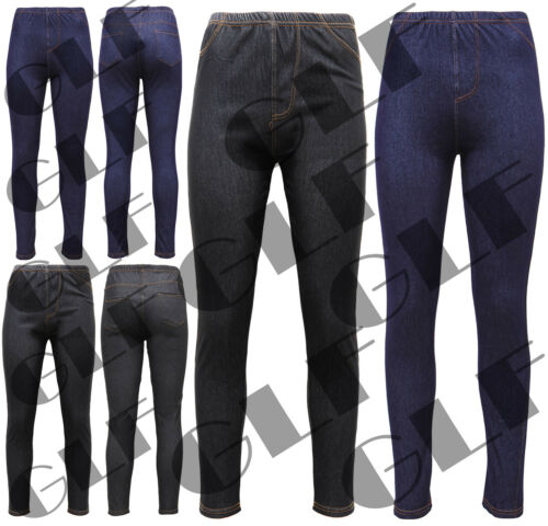 New Women/'s Ladies Plus Size Stretchy Denim Look Skinny Jeggings Leggings 8-14