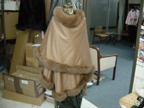 100% 100% 100% CASHMERE SWING CAPE COAT CAMEL BROWN FOX BORDER 9b039a