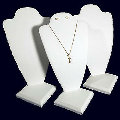 """3 White Leather Necklace Earring Jewelry Display 10"""""""