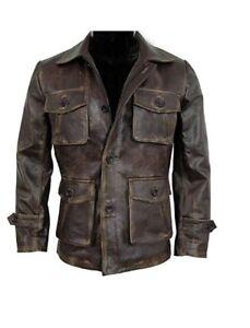 Men-039-s-Stylish-Cafe-Racer-Biker-Real-Leather-Distressed-Brown-Leather-Jacket