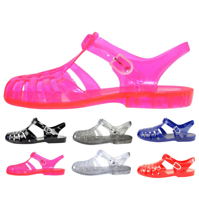 864def01e334 Womens Girls Retro Strappy Ladies Jelly Sandals Shoes Summer Beach ...
