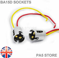 2x BA15D 1157 Light Bulb Socket Holder - Metal - LED - For Cars Bikes Trucks