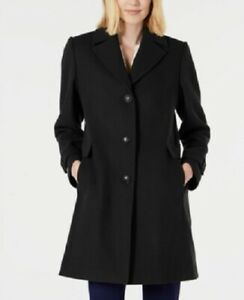 Vince-Camuto-Women-039-s-Single-Breasted-Wool-Walker-Coat-Black-Size-XL-360-NwT