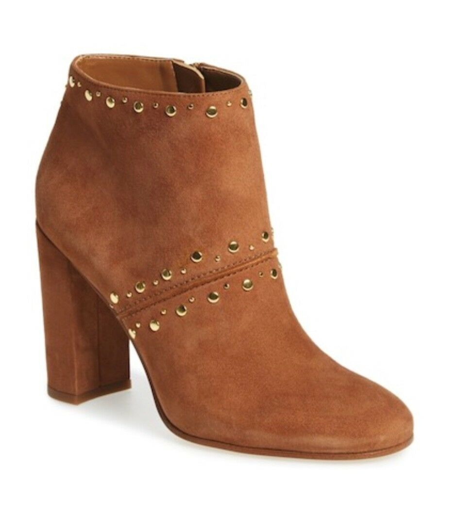SAM EDELMAN CHANDLER STUDDED SUEDE ANKLE BOOT TAN SIZE 9.5