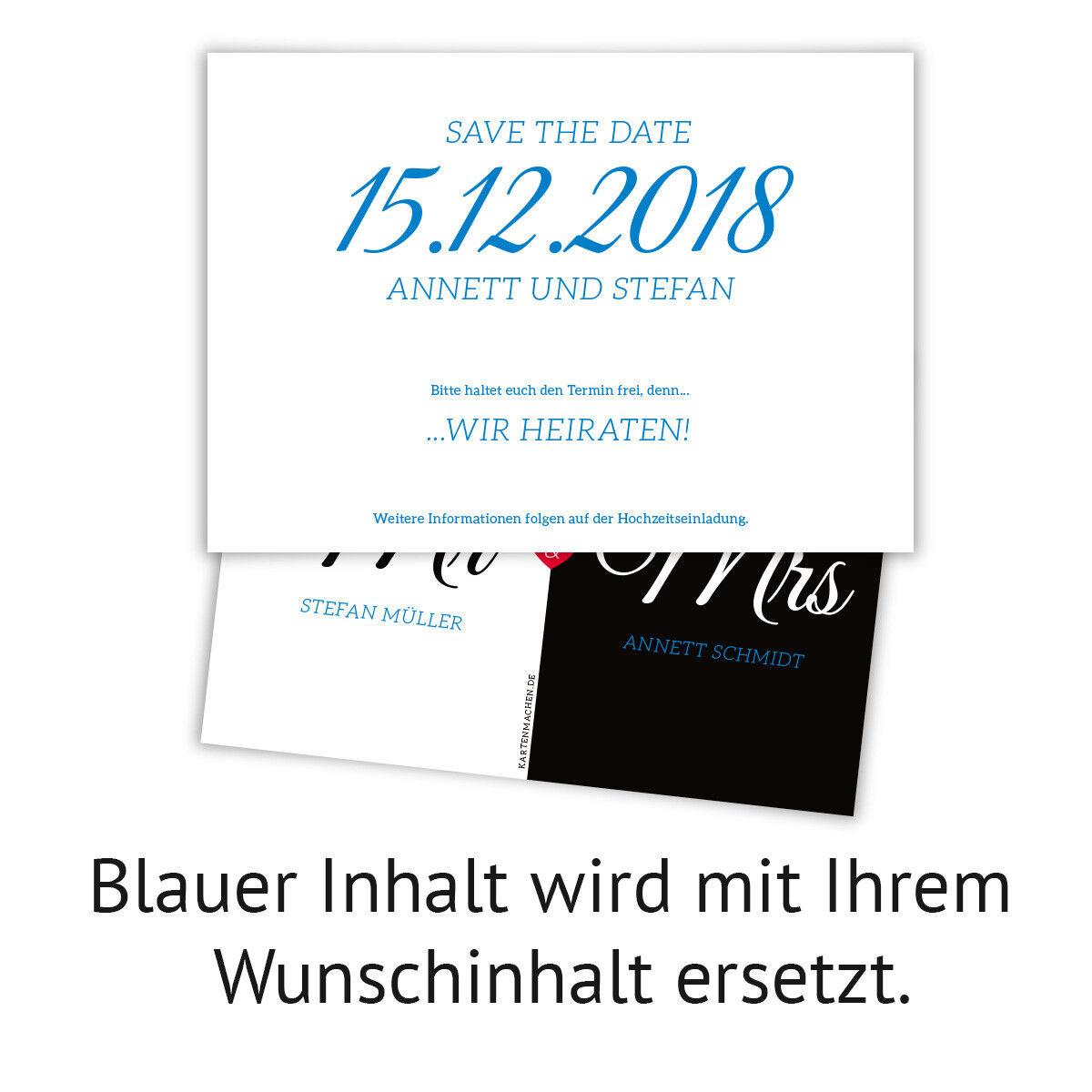 Hochzeit Save the Date Karten Karten Karten Hochzeitskarten individuell - Mr. & Mrs. | Einfach zu bedienen  | Hochwertige Materialien  6d0aa1