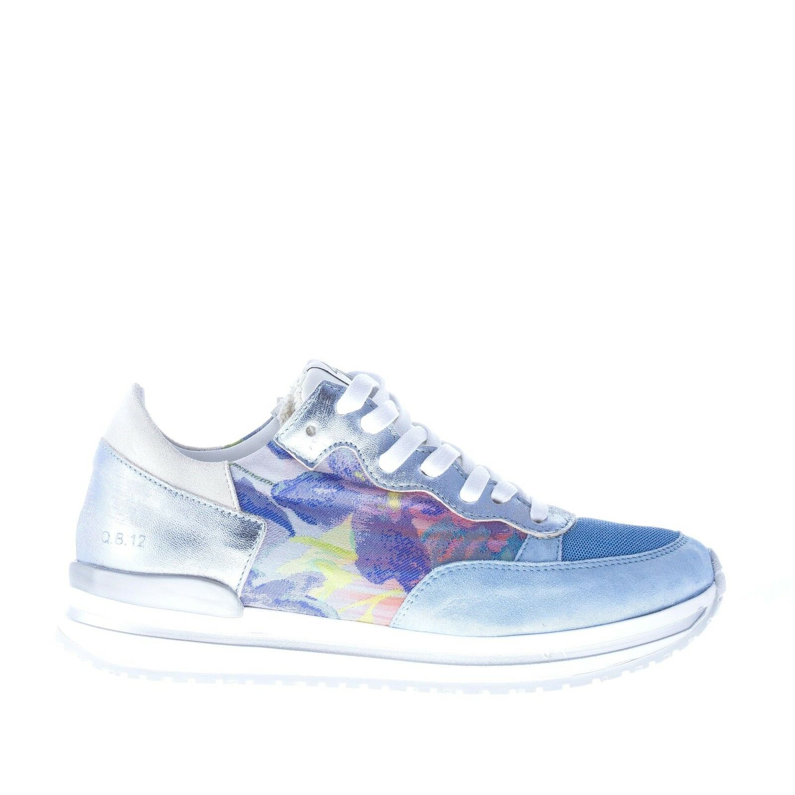 QUATTROBARRADODICI shoes femme bluee suede and fabric sneakers floral print
