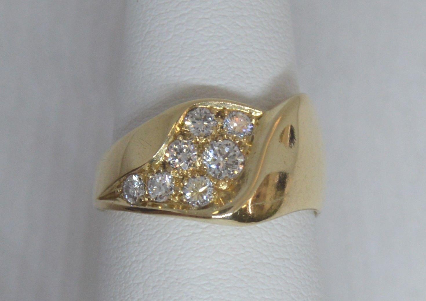 .55 ctw Diamonds 14k Yellow gold Wave Ring  Sz 7  w Appraisal  2575 VS-SI G-H