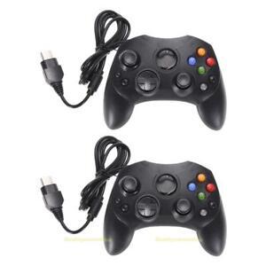 2-X-Wired-GamePad-Controller-Dual-Shock-Joypad-for-Microsoft-Original-Xbox-Black