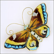 DAVID-ANDERSEN - Norway - Large Silver Enamel Butterfly Brooch