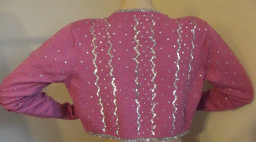 PERSAMAN S PL ROSE MAUVE PINK SWEATER SHRUG Silver Sequins Beaded FORMAL INDIA