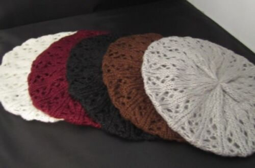 Trendy Women/'s Knitted Lacy Hat French Beret Cap ~ New~