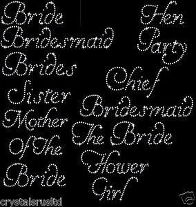 Wedding Bridesmaid transfer iron on rhinestone bride t shirt transfer applique