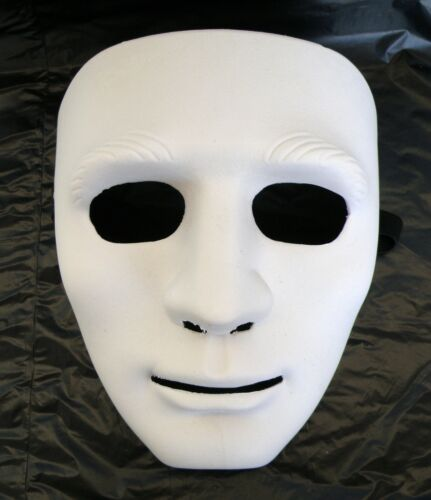 White Hallowmans Hip-Hop Dance Face Mask With Flexible Elastic Ribbon Tie
