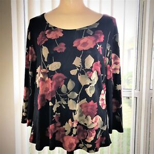 Floral-Blouse-By-Brittany-M-Black-Club-Wear-Stretch-Sheer-Textured-Top-ON-SALE