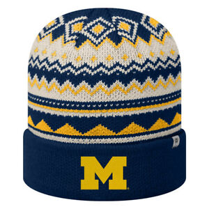 2c8e5a127a9 Image is loading Michigan-Wolverines-Top-Of-The-World-Cuffed-Knit-