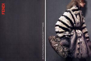 Details about 2007 Fendi Fur chinchilla coat Furs lynx 2-page MAGAZINE AD
