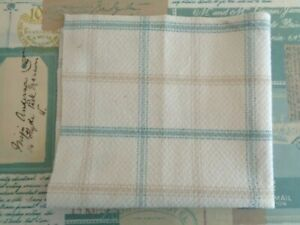 1 x LAYER 22cm sq ISLES LEWIS WOOL MIX CHECK Cream Duck egg blue Taupe FABRIC