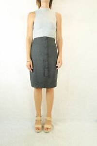 COUNTRY-ROAD-Charcoal-Wool-Blend-Button-Skirt-Size-10