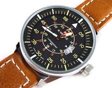 AVIATOR's 45mm PILOT's Steel Army Military Sport Boat Date Quartz Wrist Watch