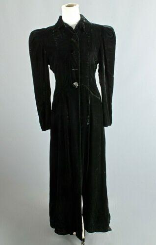 VTG Women's 40s Long Black Velvet Princess Coat Sz