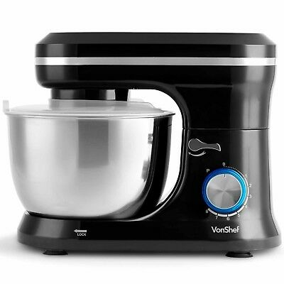 VonShef 1000W Food Stand Mixer with Beater Dough Hook & Whisk 4.5L Mixing Bowl